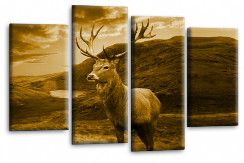 Highland Stag Wall Art Deer Scottish Sepia Brown Canvas Picture Print